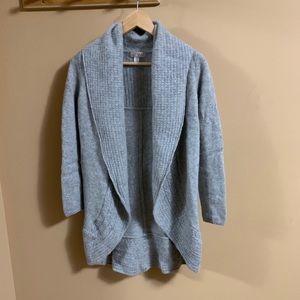 Kenar cashmere cable knit detailing grey cardigan